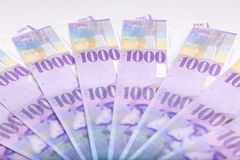 Swiss Francs banknotes  spread over the floor - Switzerland curr Royalty Free Stock Photos