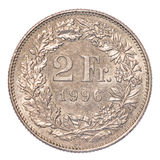 2 Swiss Francs coin royalty free stock photo