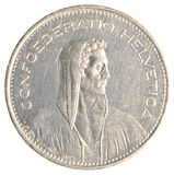5 Swiss Francs coin Royalty Free Stock Photography