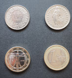 Swiss francs and Euros. Swiss franc (CHF) and Euro (EUR) coins Stock Image