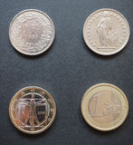 Swiss francs and Euros. Swiss franc (CHF) and Euro (EUR) coins Royalty Free Stock Photos