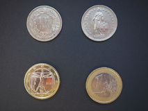 Swiss francs and Euros. Swiss franc CHF and Euro EUR coins Royalty Free Stock Photos
