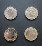 Swiss francs and Euros. Swiss franc CHF and Euro EUR coins Royalty Free Stock Images
