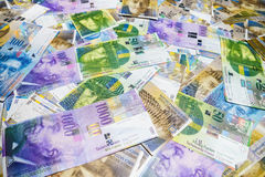 Swiss Francs. Swiss Franc, money and currency of Switzerland royalty free stock images