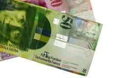 Swiss francs isolated. Swiss francs on white background stock photography