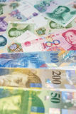 Swiss Francs notes and Chinese Yuan. Royalty Free Stock Photography