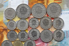 Swiss Francs and Rappen coins royalty free stock photo