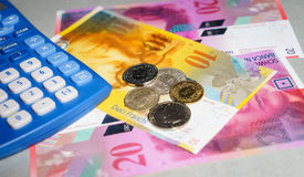 Swiss Francs. Some Swiss Francs notes and coins Stock Photography