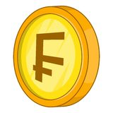 Swiss frank icon, cartoon style Royalty Free Stock Photography