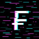 Swiss frank vector icon. Glitch effect illustration Stock Image