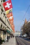 Swiss and Geneva Flags Royalty Free Stock Photo