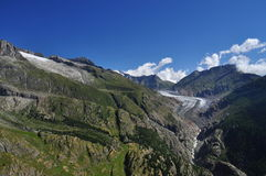 Swiss glacier Aletsch. Belalp, Valais, Switzerland. Stock Photos