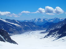 Swiss glacier in Alps. Swiss Aletsch Glacier seen from Jungfrau in July, the Alps, Switzerland Royalty Free Stock Photos