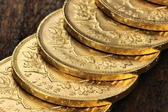 Swiss gold coins Royalty Free Stock Image