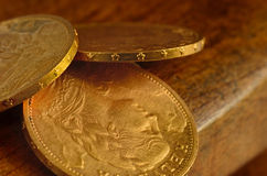 Swiss golden coins Stock Images