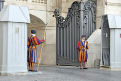 Swiss Guard. In Vatican City. Antique army that protects the Pope stock photography