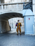 Swiss Guard of the Papal Basilica of St. Peter in Vatican City. Designed principally by Donato Bramante, Michelangelo, Carlo Maderno and Gian Lorenzo Bernini, St Stock Photography