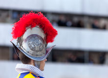 Swiss Guard. Rome, Vatican City, Lazio, Italy: Profile of swiss guard at the ceremony of inauguration of the Pope Francis on March 19, 2013 royalty free stock photography