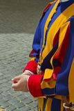 Swiss guard uniform detail. Detail of Swiss guard's blue, yellow and red renaisance style uniform Stock Photo