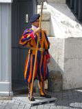 Swiss Guard in Uniform Outside of St. Peter`s Basilica stock photos