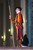 Swiss guard in Vatican. Vatican - march 2011, Swiss guard in Vatican in colourful uniform on duty Stock Image