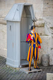 Swiss guard in the Vatican. At the watchpost Stock Photo