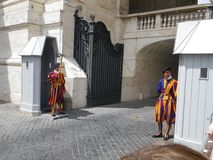 Swiss Guards Outside St. Peter`s Basilica - Vatican City, Italy. Swiss Guards in Uniform Outside St. Peter`s Basilica - Vatican City, Italy stock photos