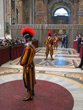 Swiss Guards in Saint Peter Basilica Stock Image