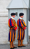 Swiss guards at the vatican. Swiss guards at watch at the vatican rome royalty free stock image