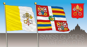Swiss guards, Vatican City, flags and coat of arms of the Holy See Royalty Free Stock Images