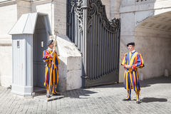 Swiss Guards in Vatican City, Rome, Italy. Guardia svizzera pontificia Swiss Guards, Vatican City, Rome stock photo