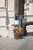 Swiss Guards in Vatican City, Rome, Italy. Guardia svizzera pontificia Swiss Guards, Vatican City, Rome royalty free stock photography