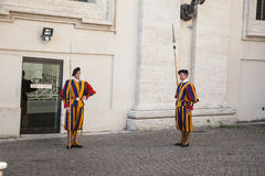 Swiss Guards in Vatican City, Rome, Italy. Guardia svizzera pontificia Swiss Guards, Vatican City, Rome royalty free stock image