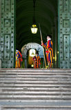 Swiss Guards of Vatican City. Some Swiss guards at the entrance of St. Peters Basilica in Vatican City in Rome (Italy stock photos