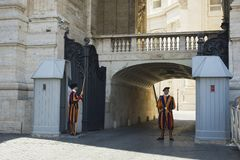 Swiss guards at Vatican City. Main entrance stock images