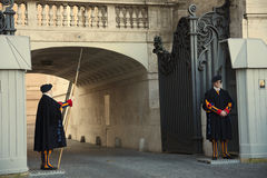Swiss Guards at the Vatican Gate Stock Photos