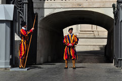 Swiss Guards. VATICAN - MAY 30, 2014: Swiss Guards on May 30, 2014 in Vatican royalty free stock photos