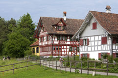 Swiss half-timbered houses in rural landscape Royalty Free Stock Image