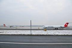 Swiss helvetic aircraft Stock Photos