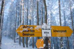 Swiss hiking sign post Royalty Free Stock Photos