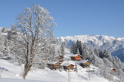 Swiss holiday cottages stock photography