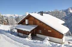 Swiss holiday house in Braunwald Royalty Free Stock Image