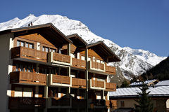 Swiss hotel in Saas-Fee. In the morning sunshine Stock Photo