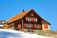 Swiss house. Typical swiss house in winter Royalty Free Stock Photos