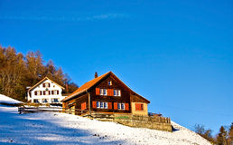 Swiss house. Typical swiss houses in winter Stock Photography