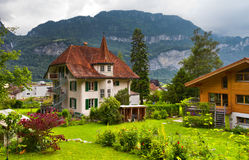 Swiss houses with a garden Stock Photography