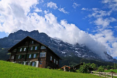Swiss hut in Alps Royalty Free Stock Images