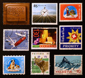 Swiss icons on postage stamps Stock Photography
