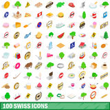 100 swiss icons set, isometric 3d style. 100 swiss icons set in isometric 3d style for any design vector illustration Royalty Free Stock Images