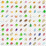 100 swiss icons set, isometric 3d style. 100 swiss icons set in isometric 3d style for any design vector illustration Stock Photography